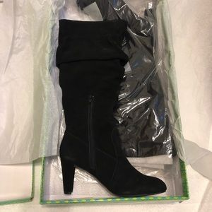 NWT Hot in Hollywood Black Suede Tall Boots